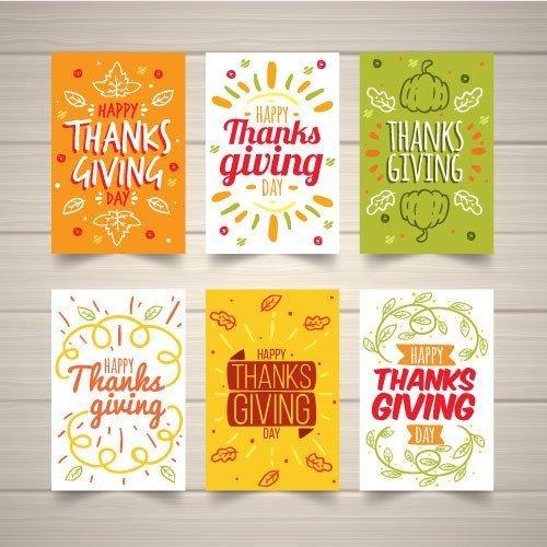 Thanksgiving 6 bigliettini ringraziamento