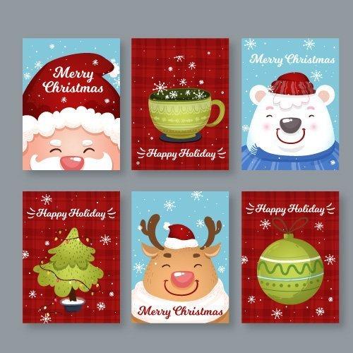 Natale set 6 bigliettini stampabili gratis